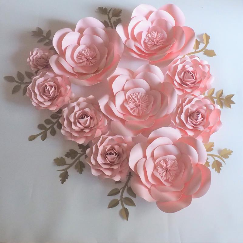 2018 2018 baby pink rose giant paper flowers backdrop gold leaves 2018 2018 baby pink rose giant paper flowers backdrop gold leaves for wedding event baby nursery baby shower artificial from fivestarshop mightylinksfo
