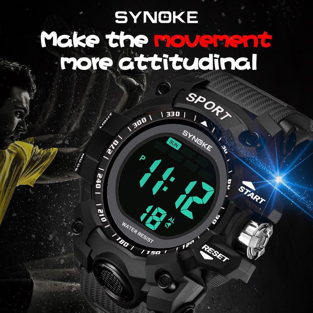05cf9fd93556 Compre Synoke Reloj Deportivo Multifunción 30 M Reloj Impermeable LED  Digital De Doble Acción Relojes Para Hombre Relojes De Moda Para Hombre A   34.22 Del ...