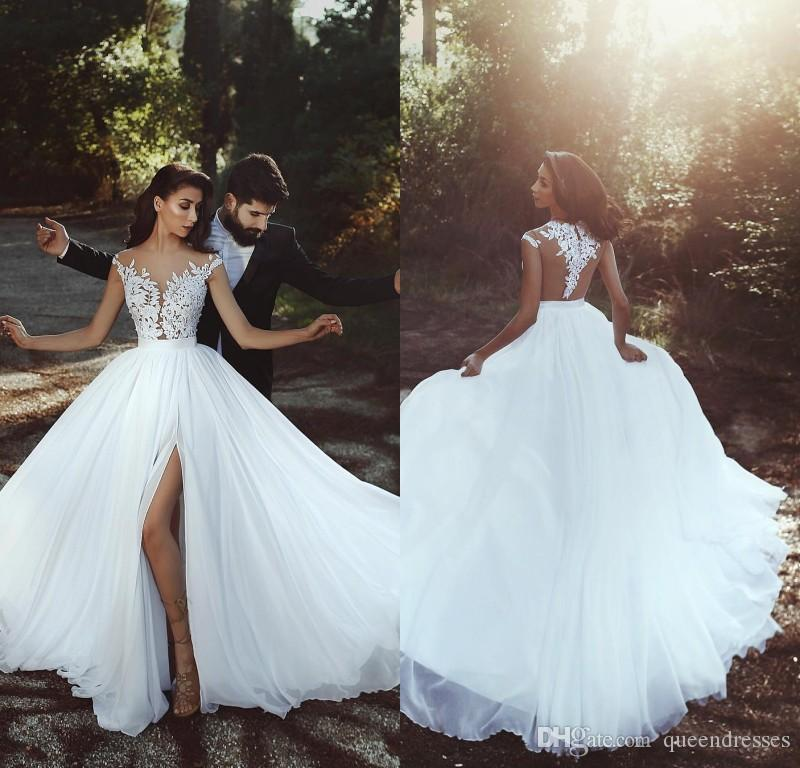 Designer White Wedding Dresses With Lace Jewel Cap Sleeve Chiffon