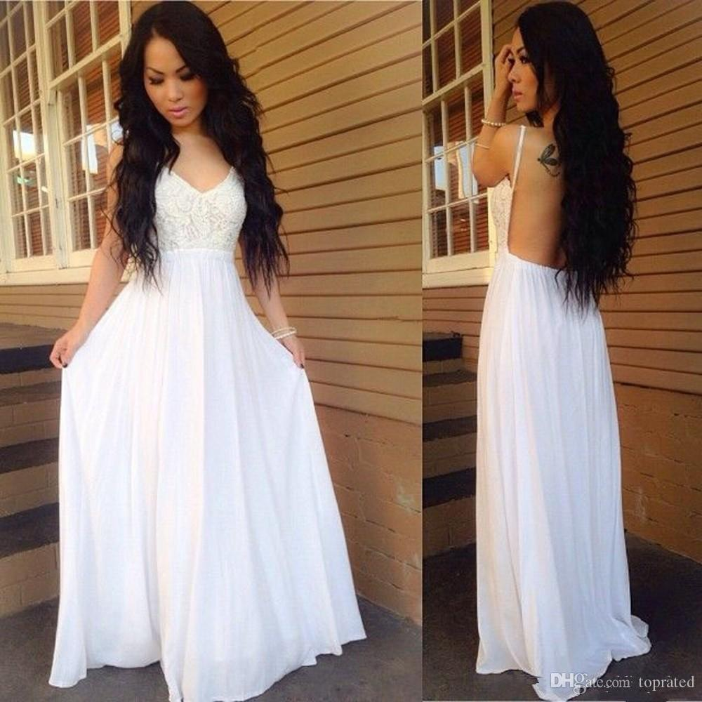 2020 White Lace Long Evening Dresses V Neck Backless Vestido Formal Party Gowns Sleeveless Floor Length A-Line Cheap Prom Dresses Plus Size