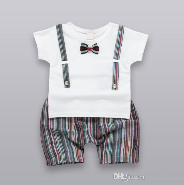 ff9d65410 2019 2018 New Summer Baby Boys Kids Clothing Sets Fashion Baby Boy Clothes  Bow Tie Short Sleeve T Shirt Shorts Children Outfit Boys Suits From  Wuchaoqun, ...