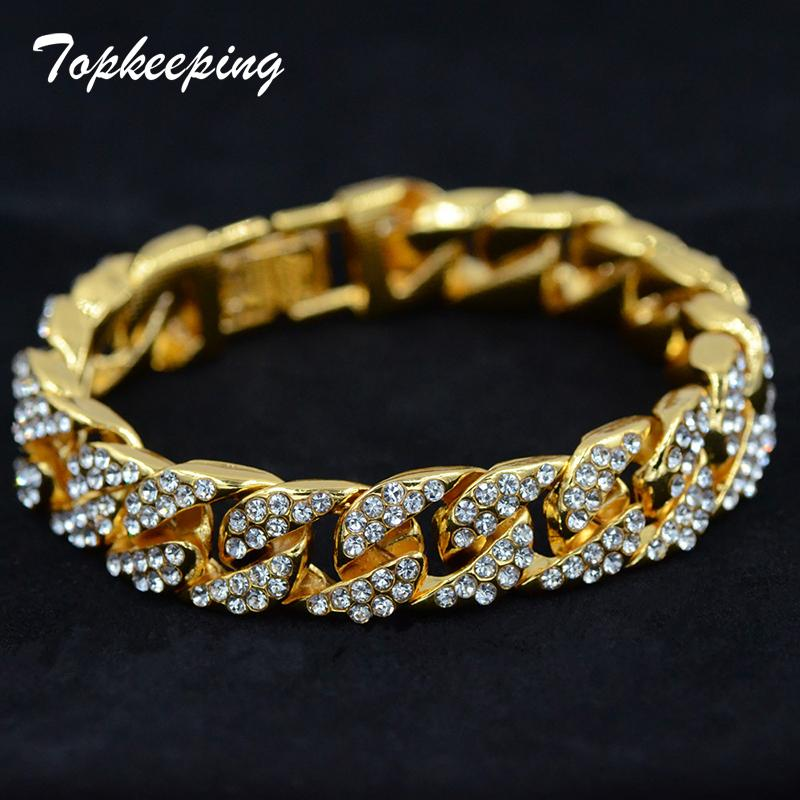 2019 Men Luxury Rhinestone Fashion Bracelets Unisex High Quality Bangles  Gold Color Iced Out Miami Cuban Link Chain Bracelet Hip Hop From Sihuoguo d5c095f16e45