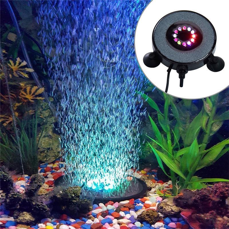 Wholesale 7colors Waterproof Led Light Multi Color Fish Tank Lamp Submersible Mini Aquarium Lights Bubble Aeration Disc Lighting