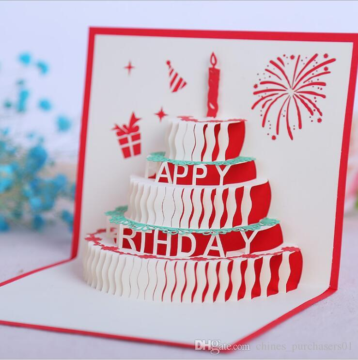 3D Pop Up Greeting Card Handmade Happy Birthday Merry Christmas Gifts New Creative Cards AMI 084 Free E From