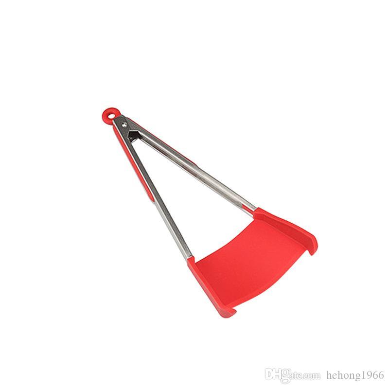 Термостойкий Силиконовый пищевой клип Красный антипригарным 2 в 1 из нержавеющей стали умный шпатель щипцы кухня кулинария инструмент практические 14mb2 у
