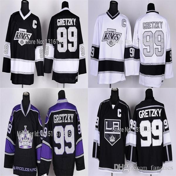 sports shoes 69cb1 8d53b 2016 Free Shipping High Quality La Kings Gretzky Jersey Los Angeles Kings  #99 Black Purple White Ice Hockey Jerseys