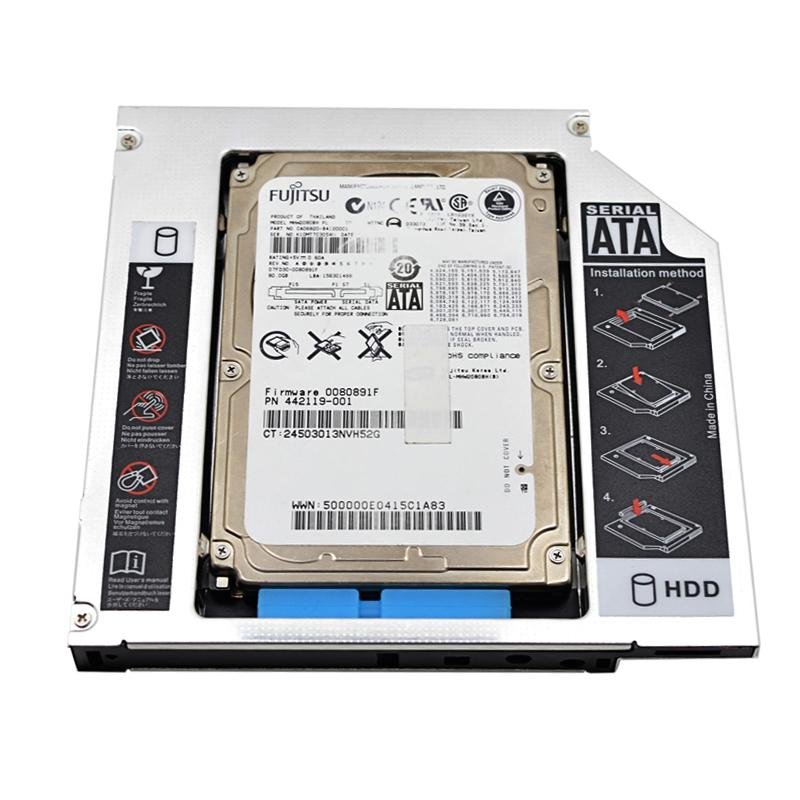 3b0de9dea5f4 2017 New Universal Aluminum 2nd HDD Caddy 12.7mm SATA 3.0 for 2.5 7mm 9mm  9.5mm 12.5mm SSD HDD Case Enclosure DVD-ROM Optibay