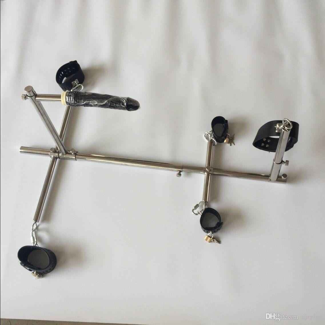 남녀 겸용 스테인레스 스틸 본디지 프레임 강아지 노예 BDSM 장치는 수갑 걸쇠를 설정 발목 팔목 목덜미의 딜도 성별 가구 장난감