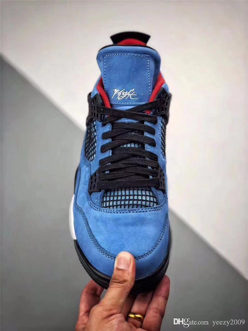 092fc5d793a 2018 LATEST TRAVIS SCOTTS 4 HOUSTON OILER MEN BASKETBALL SHOES 4S UNIVERSITY  BLUE SUEDE WHITE MIDSOLE RED CACTUS LOGO DESIGNER SNEAKERS Sports Shoes  Online ...