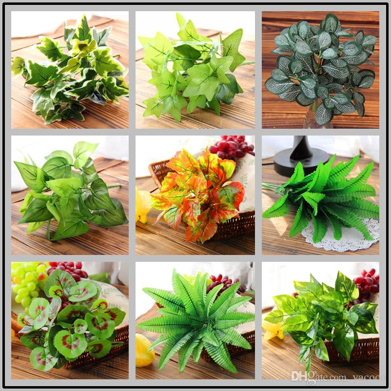 Wedding Home Decor Artificial Plants Real Touch Fake Leaves 5 7 Fork