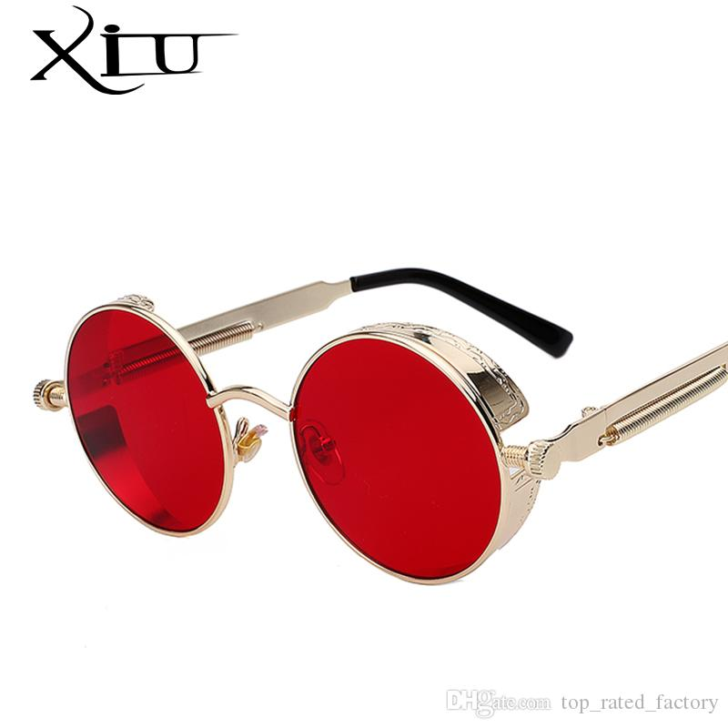 4dd37fecca3 Round Metal Sunglasses Steampunk Men Women Fashion Glasses Brand Designer  Retro Vintage Sunglasses UV400 Online with  6.0 Piece on  Top rated factory s Store ...