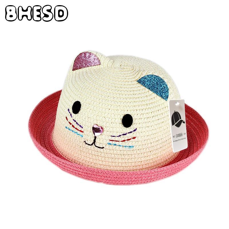 BHESD 2017 marca bebê chapéu de sol cap verão crianças orelhas de gato  decoração chapéu de praia meninas menino rosa sol palha ossos chapeauJY-433 e11d9e8b8a7