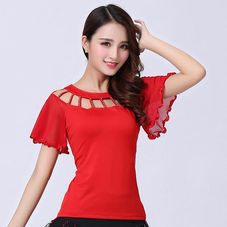 National Standard Dance Jacket Girls Square Dance Top Short Sleeve Female Horn Sleeve Jacket Latin Blouse Rumba Suit D0022