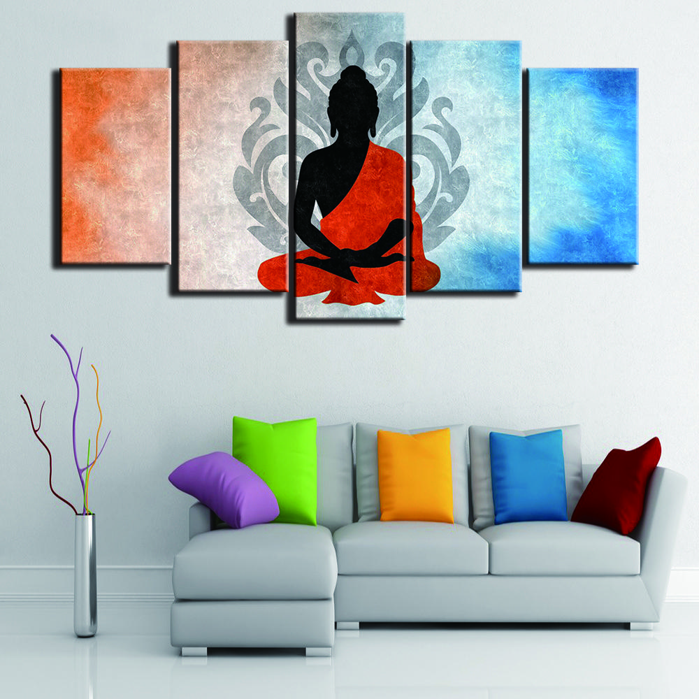 Canvas painting for bedroom modular style picture large printed 5 panel buddha landscape living room home wall artwork decoration
