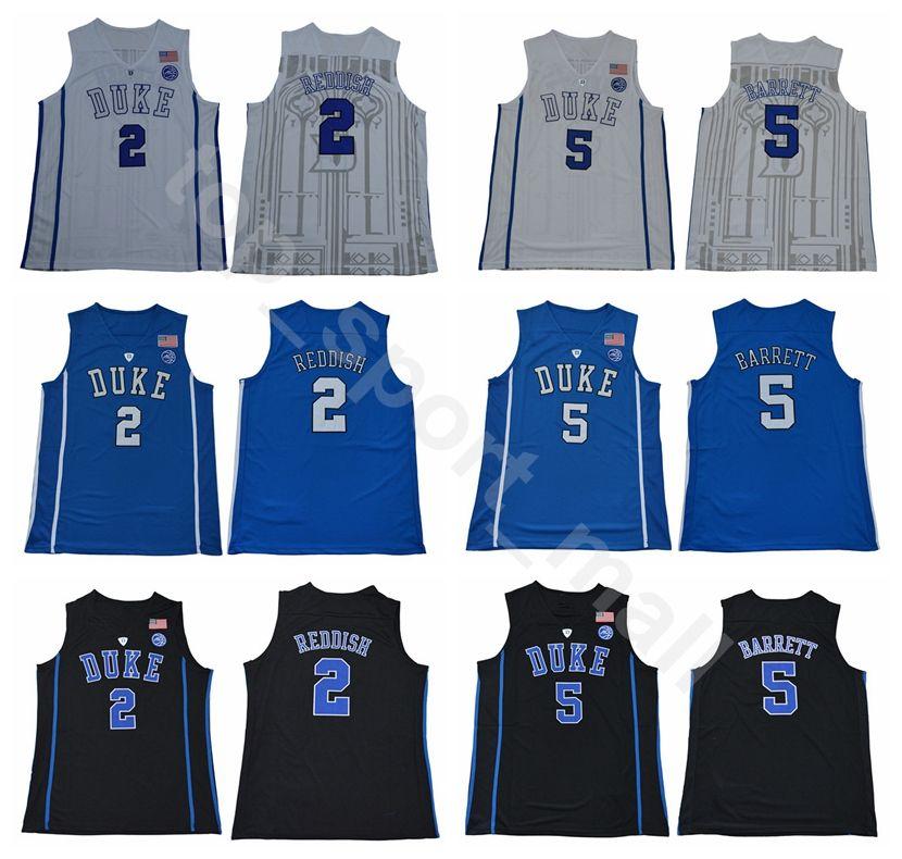 sports shoes 22452 cfc89 New College 2 Cam Reddish Jersey Men Duke Blue Devils Basketball 5 RJ  Barrett Jerseys University Breathable Home Blue Away Black White