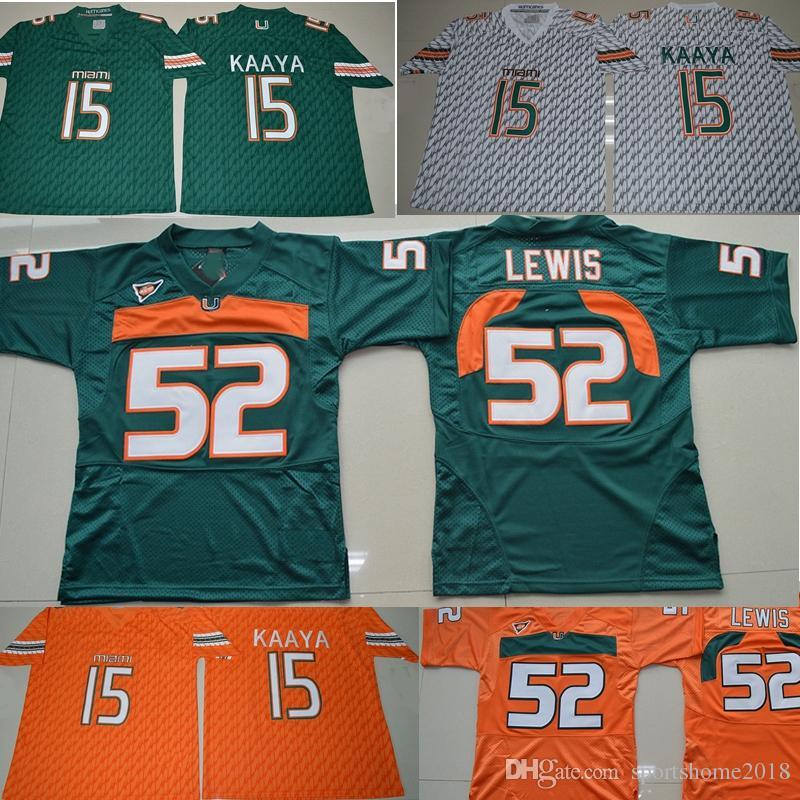 low priced dc9b4 7e3da 2017 Miami Hurricanes College Jerseys 15 Brad Kaaya 26 Sean Taylor 52 Ray  Lewis 20 Ed Reed Stitched Jersey
