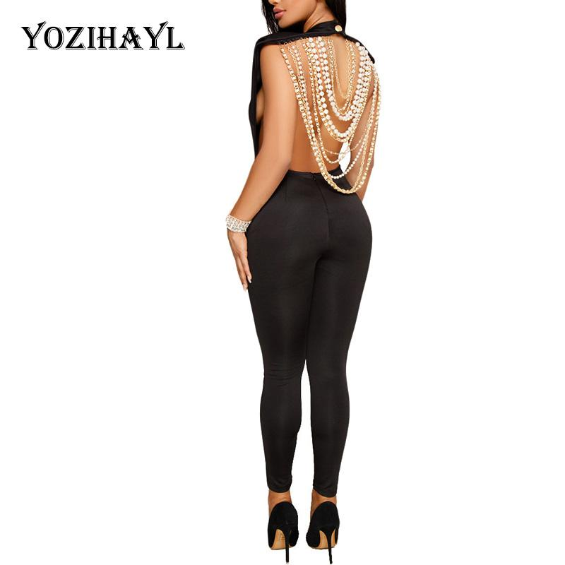 16682d1d316e 2019 Yozihayl Sexy Backless Club Party Jumpsuit Women Pearl Beading  Embellished Jumpsuit Sleeveless Open Back Bodycon Bling From Baldwing