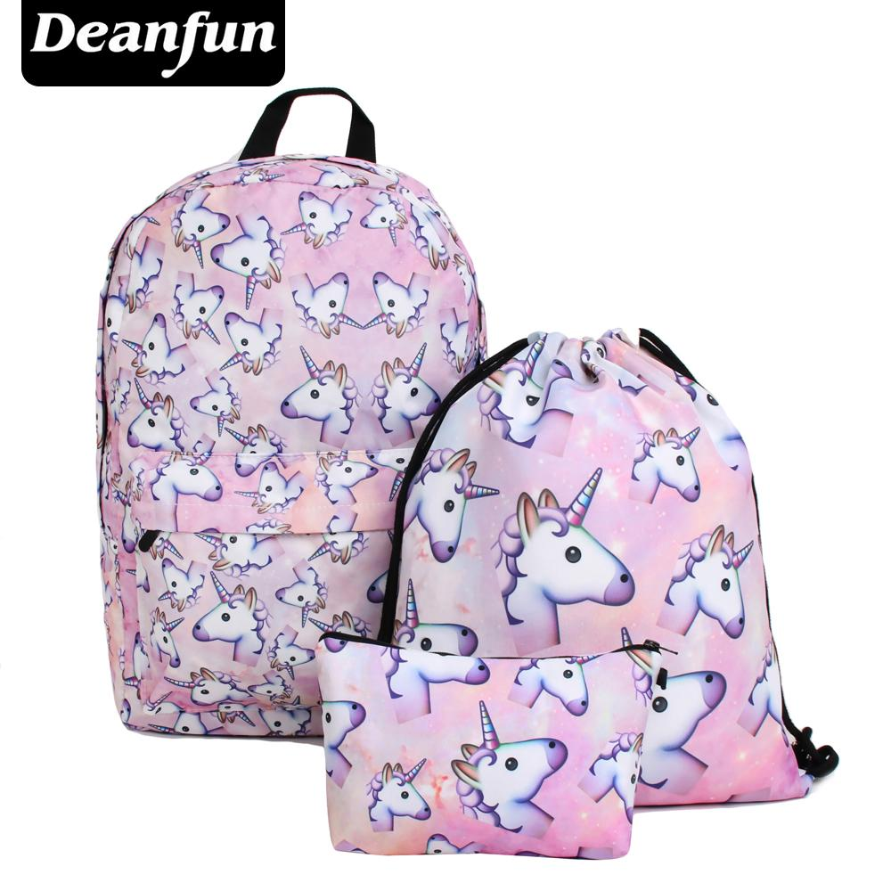 80c80b11b1aa Deanfun  Set Women Printed Unicorn Backpack School Bags For Teenage ...