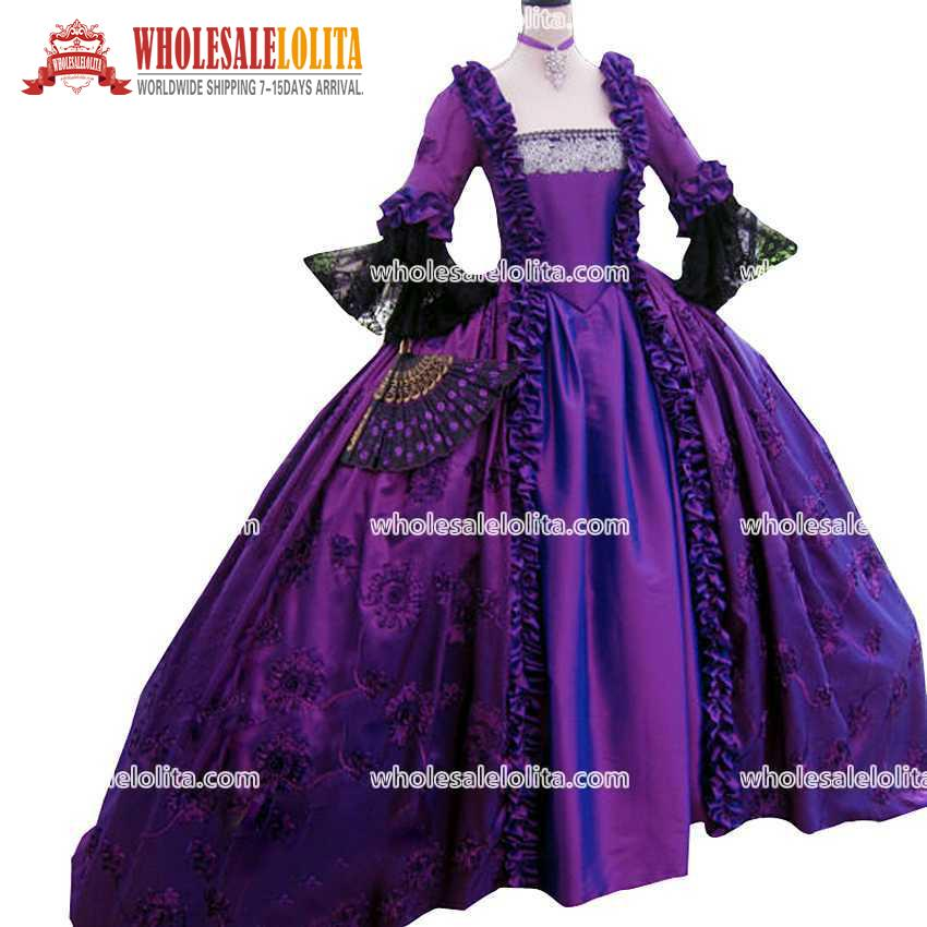Top Sale 17 Century Purple Marie Antoinette Floor Lenght Party Wear ...