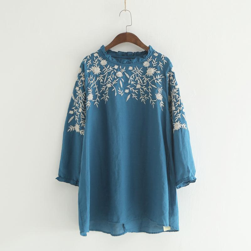 681148cd4e5 2019 Ethnic Floral Embroidery Linen Tunics Women Spring Shirt Blouses  Prairie Chic Style From Watch2013
