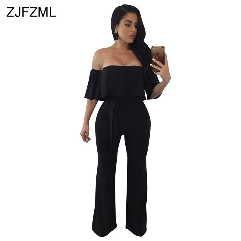 ZJFZML Off The Shoulder Sexy Party Jumpsuit Women Slash Neck Short Sleeve  Long Romper Summer Black Backless Bow Sashes Overall Online with   44.26 Piece on ... d0effd85c000