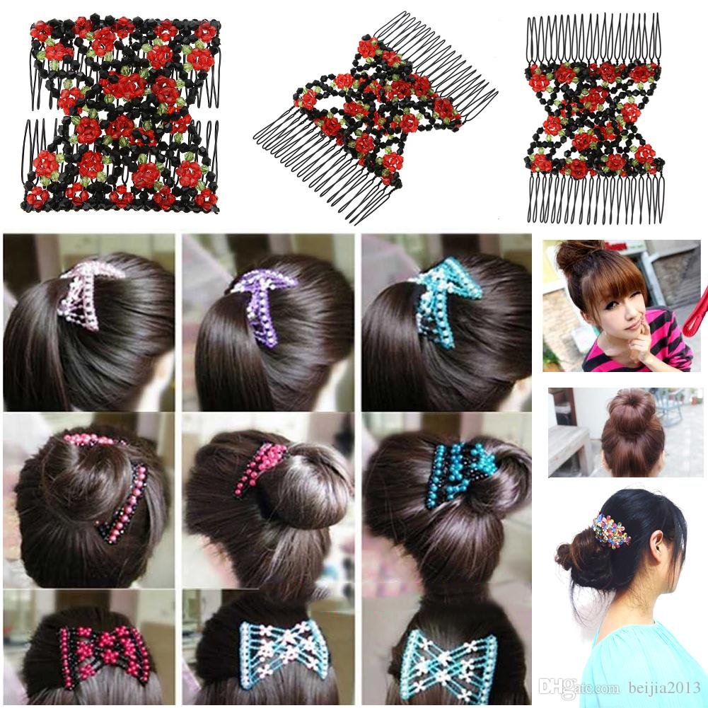 Vintage Flower Bead Stretchy Hair Combs Double Magic Slide Metal Comb Clip Hairpins for Women Hair Accessories Gift
