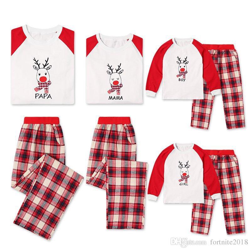 8b1f827600124 Acheter Famille Correspondant Vêtements Fille Garçon Garçon Maman Papa  Pyjamas Noël Parent Vêtements Vêtements Dessin Animé Orignal Imprimé Haut  Et Pantalon ...