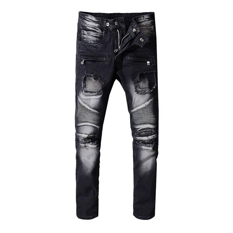 a53fe449 Balmain Mens Distressed Ripped Skinny Biker Zipper Jeans Brand Designer  Slim Mens Motorcycle Moto Denim Hip Hop Pant Canada 2019 From  Christainlouboutin, ...