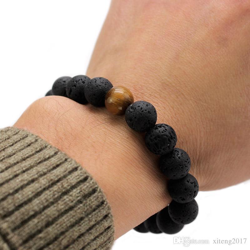 Nouvelle Conception De Haute Qualité Noir Pierre De Lave Bijoux Pierre de Lave Perles Charmes Stretch Energy Yoga Cadeau Romantique Couple Amant Bracelets 2018