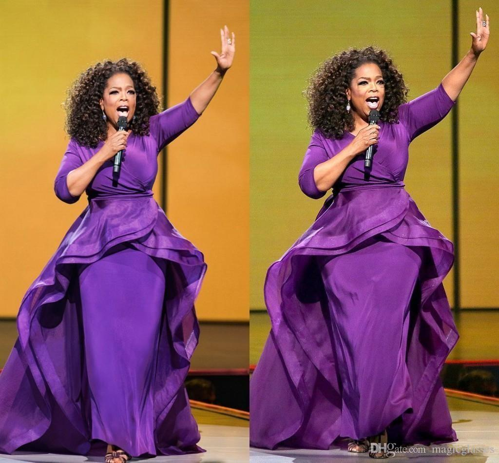 Elegant Oprah Winfrey Celebrity Evening Gowns Over Skirt Middle East Dubai Arabic Style Purple with Sleeve Plus Size Women Formal Wear