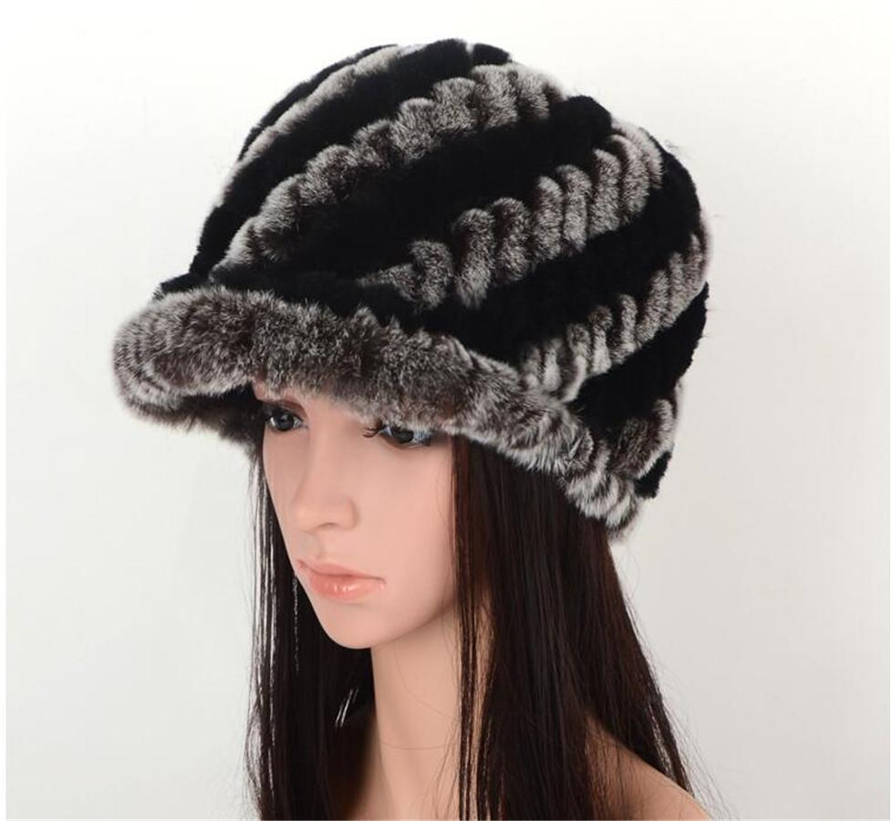 Winter Genuine Rex Rabbit Fur Russian Baseball Hat Women Fashion 2018 d599598b7b11