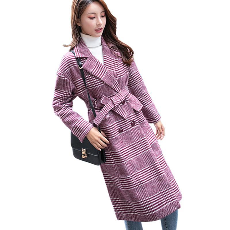 7113d9ef3 VogorSean Womens Winter Coats Plaids Wool Jackets 2018 High Quality Fashion  Plaid Long Woolen Coat Loose Women Wool Coat Pink