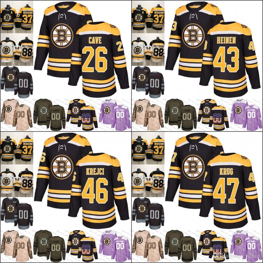 5dbd07eda98 2019 Boston Bruins Mens 26 Colby Cave 43 Danton Heinen 46 David ...