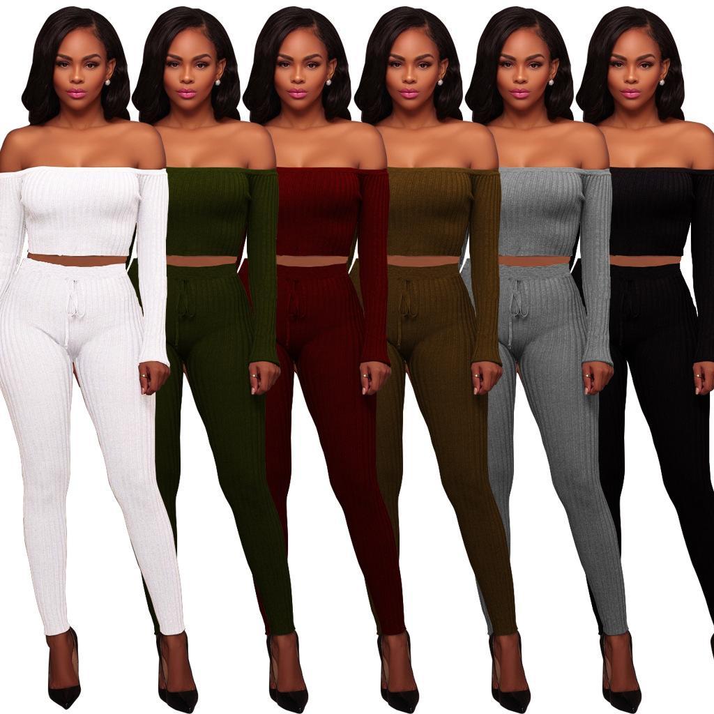 Sexy alta linha elástica shoulderless camiseta de manga longa calças de duas peças define mulheres plus size s-2xl primavera outono clube ternos