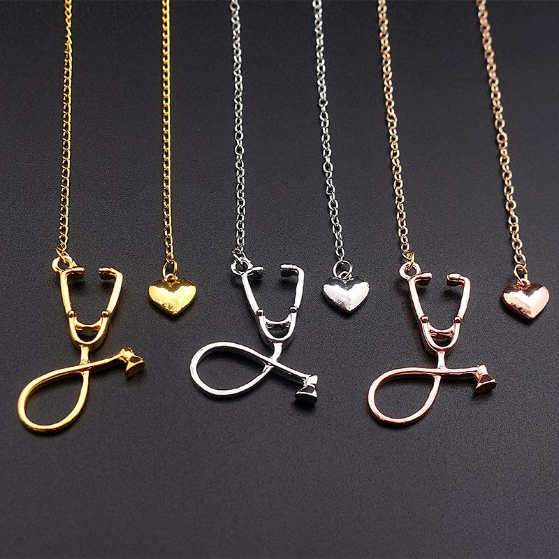 Wholesale stethoscope nurse necklaces chains pendants necklaces wholesale stethoscope nurse necklaces chains pendants necklaces doctors gifts women luxury jewelry doctoral creative heart love necklace silver bracelets aloadofball Image collections