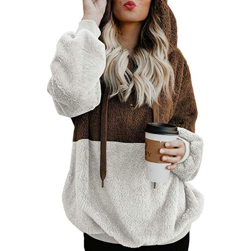 73a1ce7cd0 2019 Womens Oversized Winter Thicken Warm Long Sleeve Hoodies Drawstring  Fluffy Faux Fleece Pullover Sweatshirt Coat Tops From Longan08