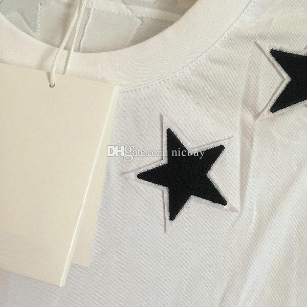 Frühling Modedesigner Marke T-Shirt Sommer für Männer schwarzen Stern 7 4 Buchstabedruckes Baumwollbeiläufigen T-Shirt T-Shirt übersteigt Hemden Beflockung