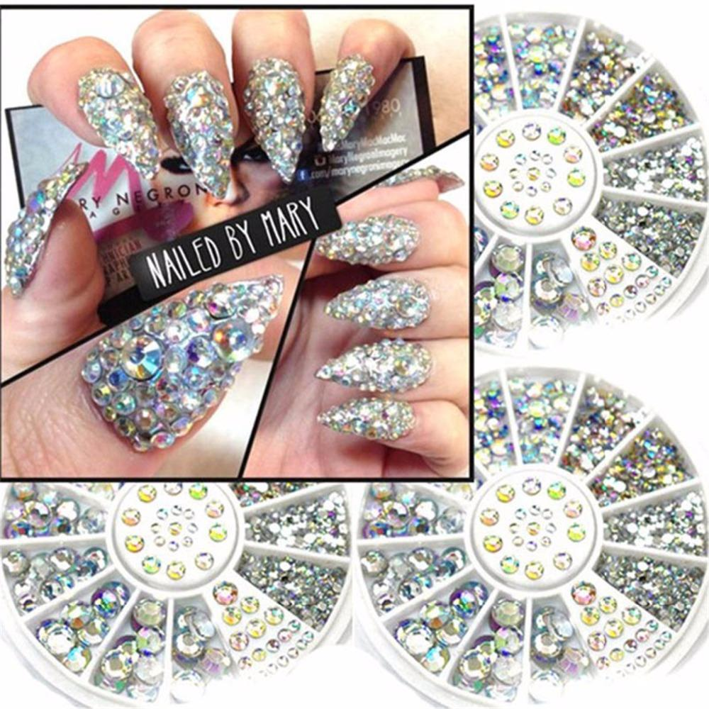 1 Custodia Crystal Rhinestones Nails Tips Clear / AB No Hot Fix Colla DIY Glitter Disegni Nail Art Manicure Mixed Size 3D Stones