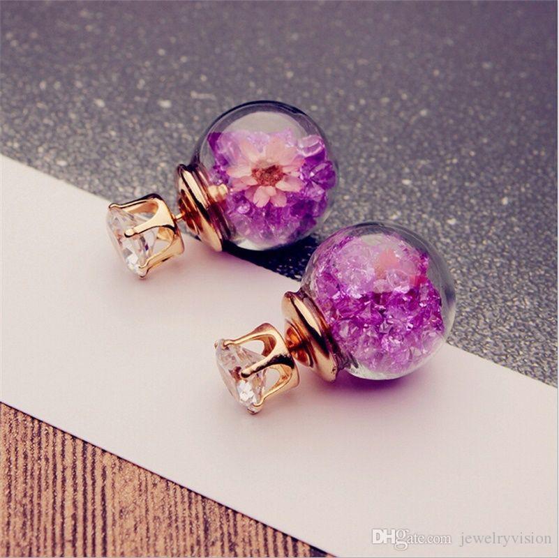 S35 Hot Europa Modeschmuck niedliche Glaskugel-Strass-Blumen-Bolzen-Ohrringe der Frauen elegante Ohrringe