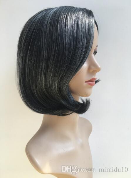 Kısa Düz Sentetik Yan Ayrılık Bob Peruk Siyah Kadınlar Için Patlama Ile Brezilyalı Saç Doğal Isıya Dayanıklı Saç