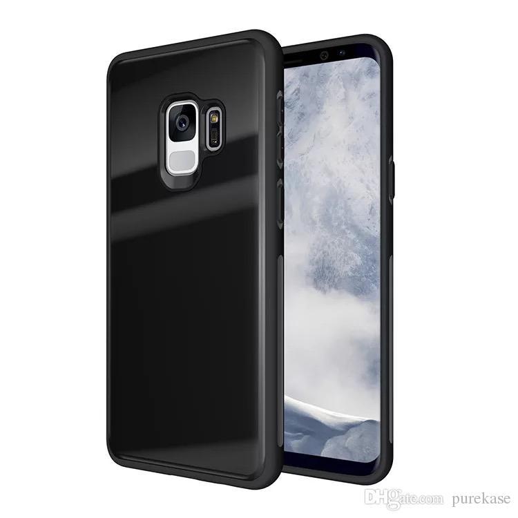 PURE KASE für Samsung Galaxy S9 Hülle, gehärtetes Glas zurück und TPU Stoßdämpfung Stoßstange Vollschutzhülle für Samsung S9 plus