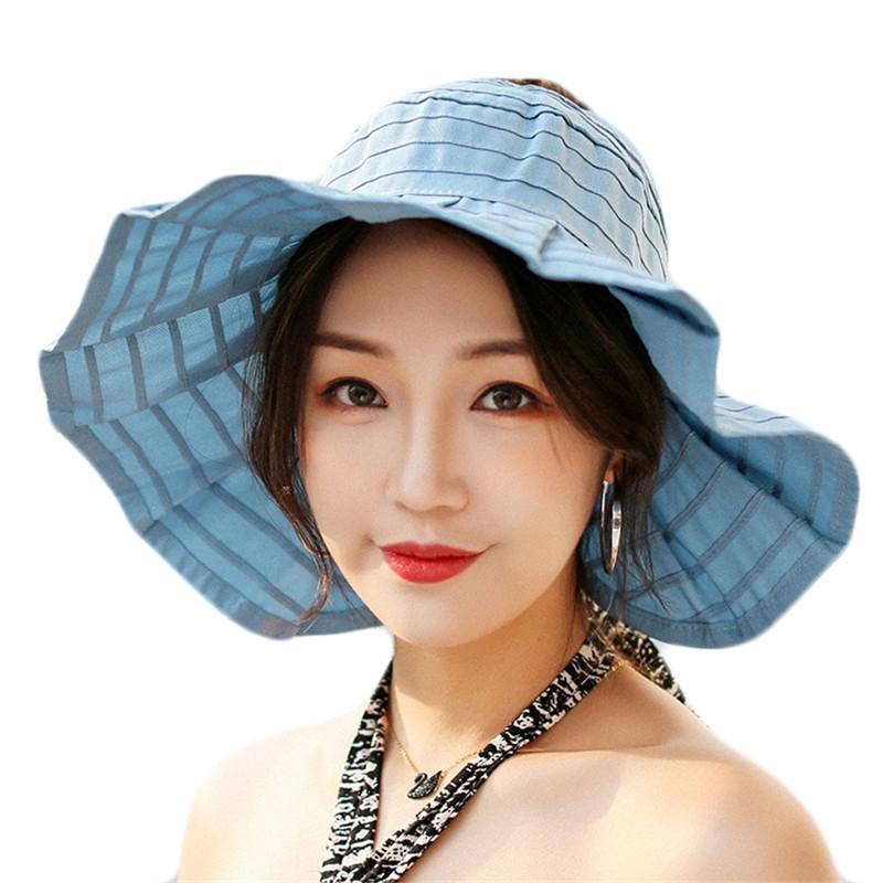 e1559a5cc10 Women Summer Sun Hats Top Empty Bucket Hat For Women Foldable Female Cotton  Outdoor Sun Visor Hats Lady Sunscreen Beach Cap Hat Shop Hat Styles From ...