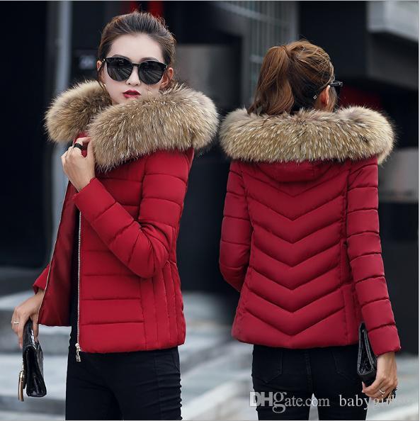 3f6dea12648 Compre Tallas Grandes Mujer De Invierno Outwear Abrigos Cuello De Pelo  Largo Manga Larga Cremallera Cuello Alto Mezclas De Lana Rojo Rosa Negro  Gris Envío ...