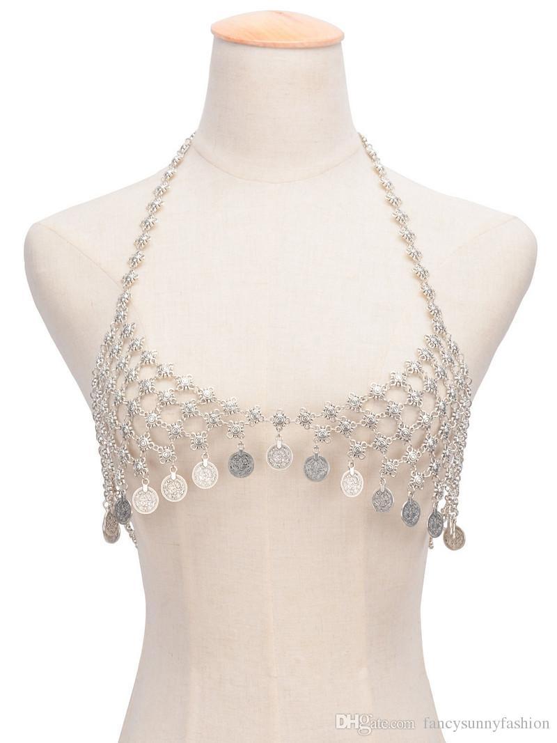 Belly Chains sexy body chain Bikini bras jewelry women swimsuit beach harness necklace blink Rhinestone bra Nightclub party sexy accessories