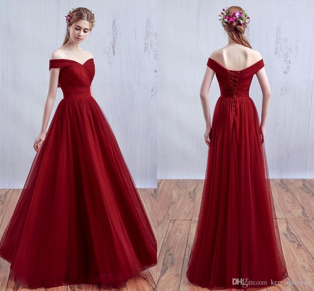 Vestidos De Dama De Honor Largos Color Vino Ken Chad