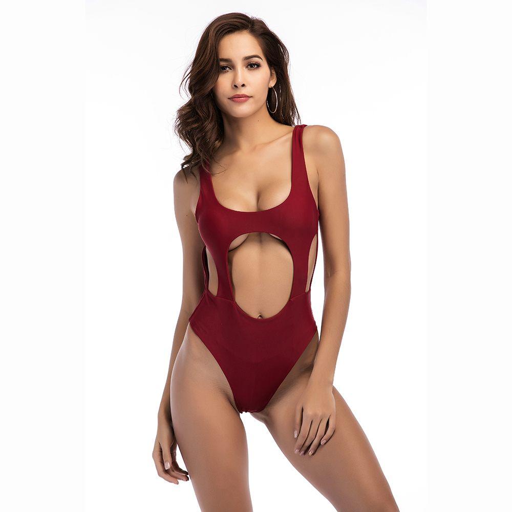 Sexy One Piece Swimsuit Mulheres Swimwear Bandagem Monokini 2018 New Bikinis Escavar Maiô Sólidos Swim Terno Bodysuit Verão Praia desgaste