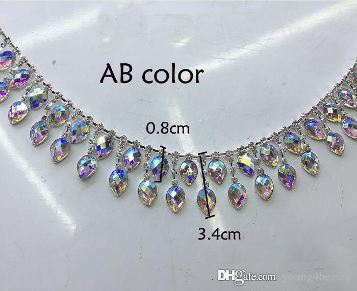 90 cm / lotto moda rosa AB colorato acrilico lacrima di cristallo strass catena strass frange il vestito da ballo indumento decorazione.
