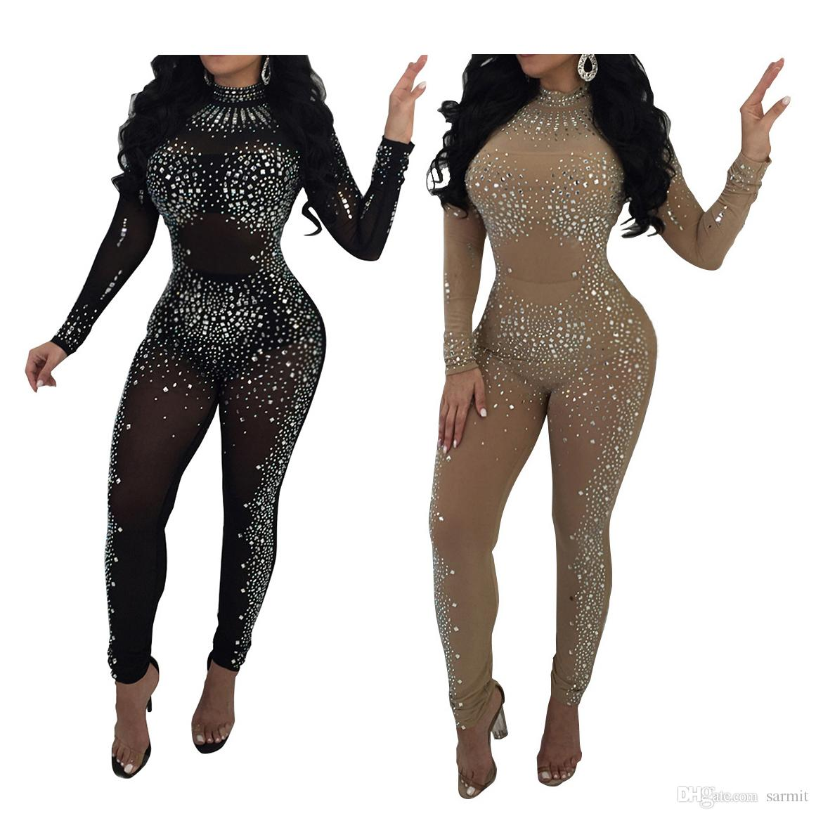 2019 NEW Sexy Shinning Rhinestones Mesh Bodycon Jumpsuit Rompers CHEAP Lace Bodysuit  Bodysuit Women Long Sleeve F0634 Black Khaki From Sarmit 21e3796a0