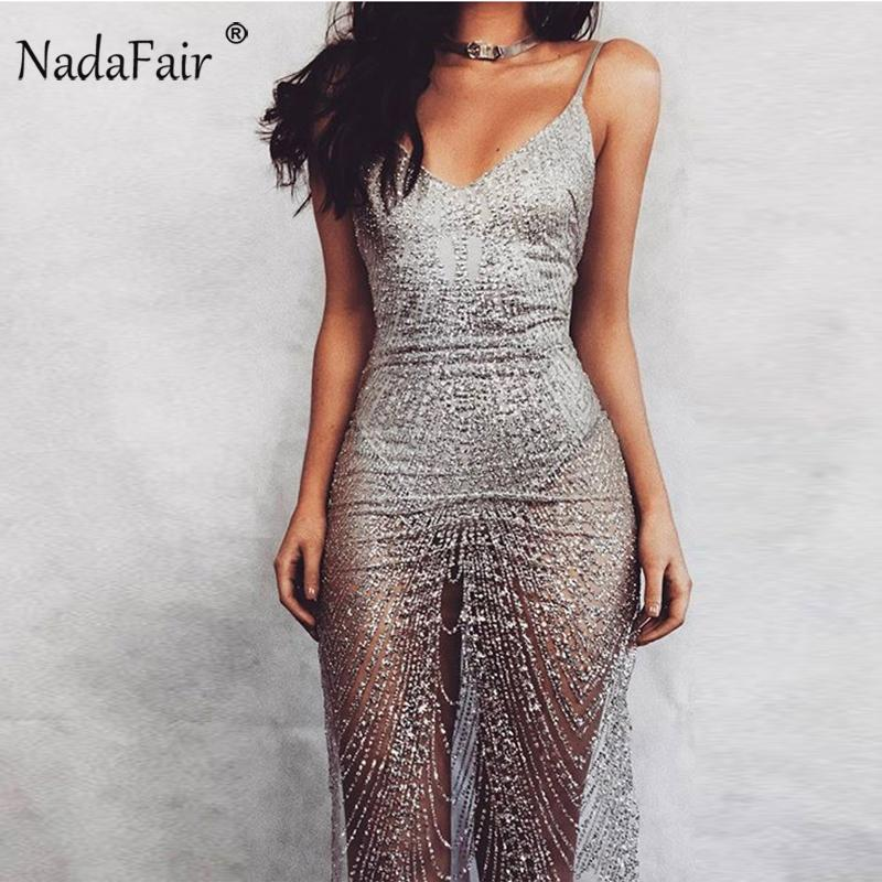 Nadafair Spaghetti Strap Robe Sans Manches Col V Or Argent Pailleté Sexy Club Body Party Dress Y1891001