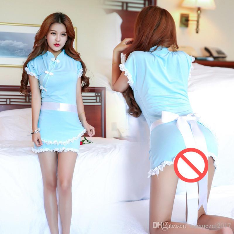 fc3d7ab14ca Acheter Sexy Summer Party Dress Sexy Maid Uniforme Erotique Sexy Costumes  Robe De Crayon Avec Satin Bow Style Chinois Vêtements Porn Cosplay Role  Play De ...